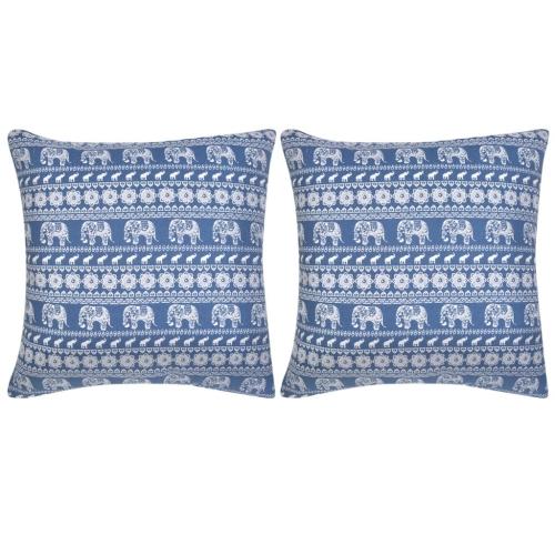 Couvre-oreiller 2 pcs Toile Elephant Imprimé Bleu 80x80 cm
