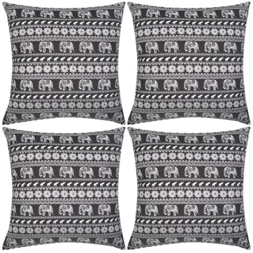 Couvertures d'oreiller 4 pcs Toile Elephant Imprimé Noir 50x50 cm