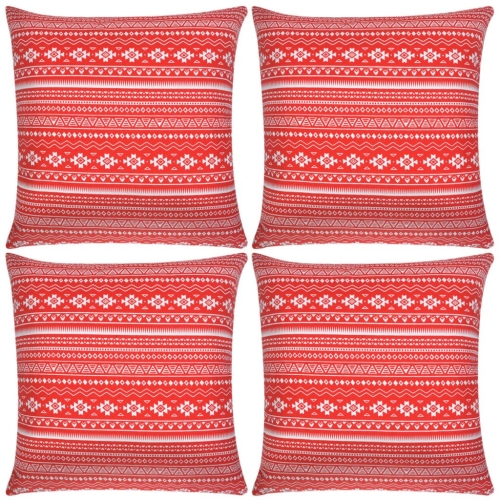 Pillow Covers 4 pcs Canvas Aztec Printed Red 50x50 cm