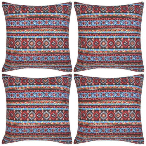 132348 Pillow Covers 4 pcs Canvas Aztec Printed Multicolour 50x50 cm