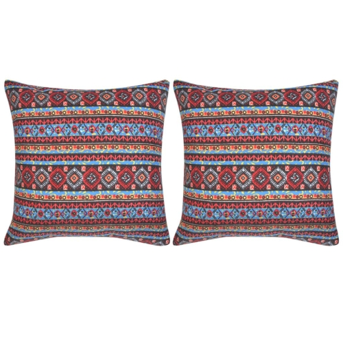132349 Pillow Covers 2 pcs Canvas Aztec Printed Multicolour 80x80 cm