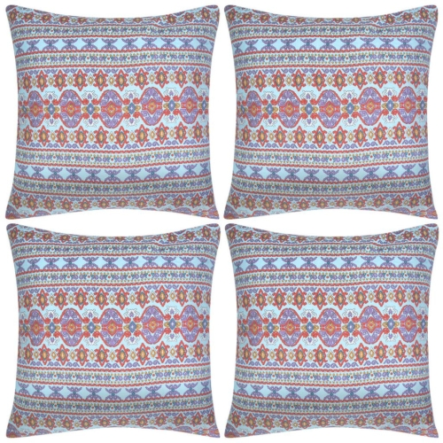Pillow Covers 4 pcs Canvas Aztec Printed Multicolour 40x40 cm