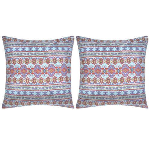 Pillow Covers 2 pcs Canvas Aztec Printed Multicolour 80x80 cm