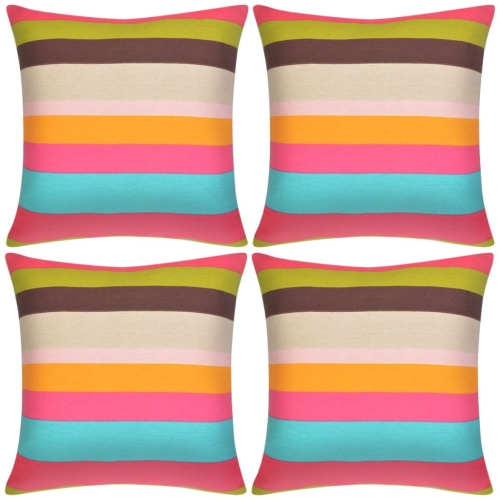 Pillow Covers 4 pcs Canvas Print with Wide Stripes 50x50 cm