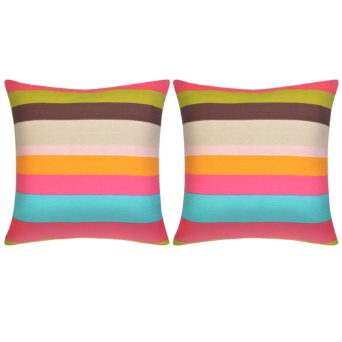 Pillow Covers 2 pcs Canvas Print with Wide Stripes 80x80 cm