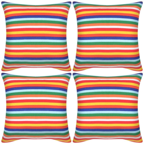 Pillow Covers 4 pcs Canvas Print with Narrow Stripes 40x40 cm
