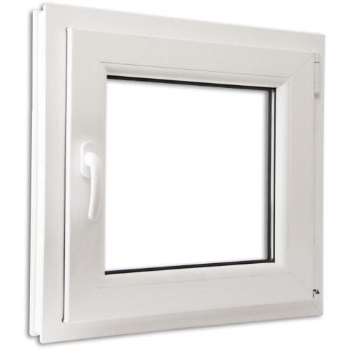 2 Fach Verglast Drehkippfenster PVC linksseitig Griff 600x600mm