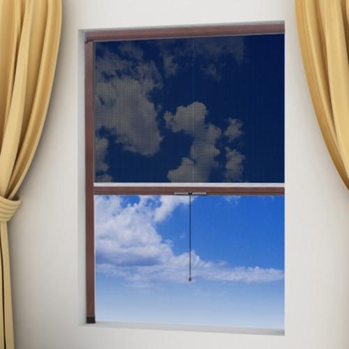 Braunes aufrollbares Insektengitter für Fenster 140 x 170 cm