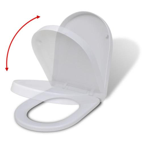 Белый сиденье для унитаза с мягкой близко квадрата