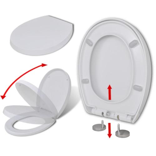 asiento de inodoro blanco con cierre suave y rápido-relase redonda función