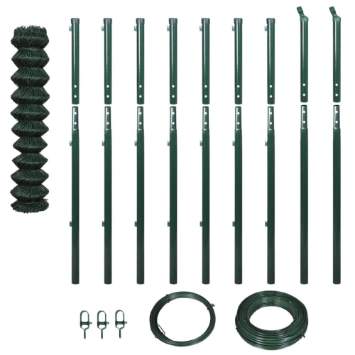 142419 Chain-Link Fence Set with Posts 1,97x15 m Green