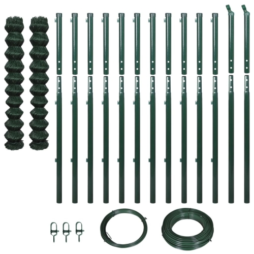 Chain-Link Fence Set with Posts 1,97x25 m Green