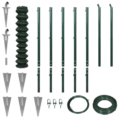142421 Chain-Link Fence Set with Spike Anchors 1,97x15 m Green