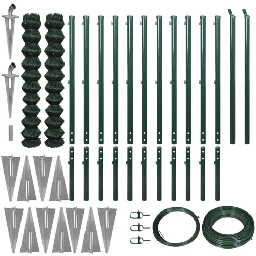 Chain-Link Fence Set with Spike Anchors 1,97x25 m Green