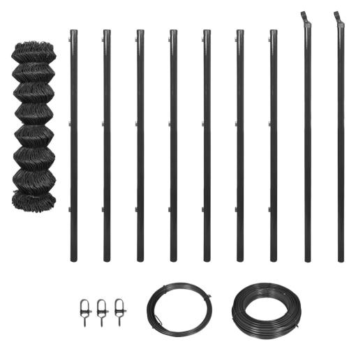 Забор цепи с сеткой с опорами и оборудованием 1x15 м Серый