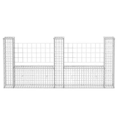 Cesto gabbione in acciaio a forma di U 240 x 20 x 100 cm