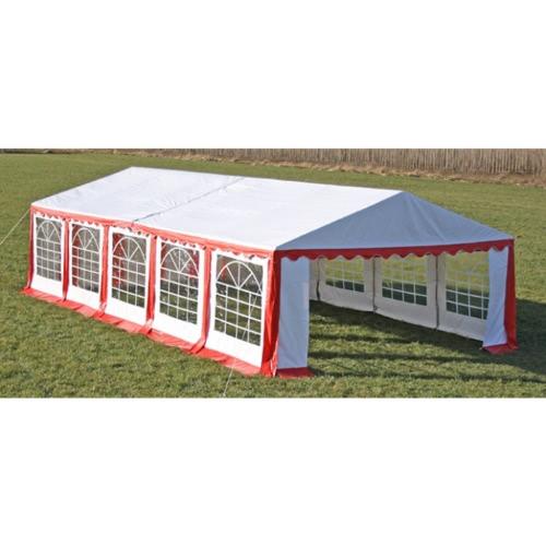 Tente de réception 5 x 10 m rouge-blanc