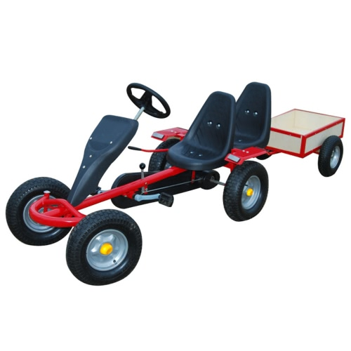 Red Pedal Go-Kart Two Seats w/ Trailer