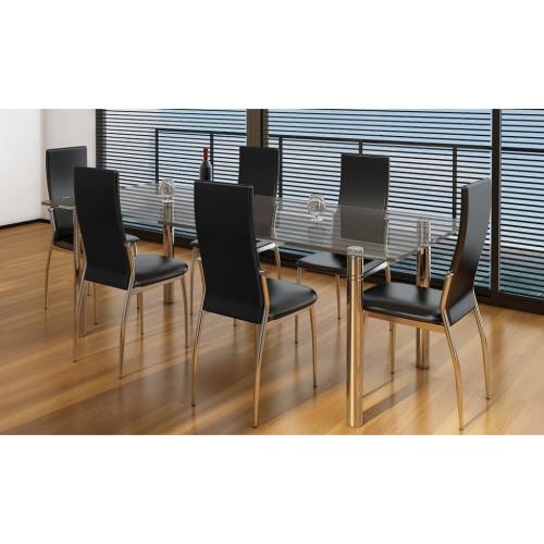 sedie (set di 6) Nero Chrome & Ecopelle