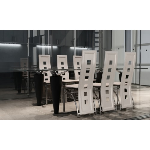 6 Esszimmerstühle Chrom-weißes Leder