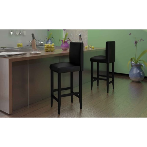Set of 6 Modern Bar Stools in Black Artificial Leather