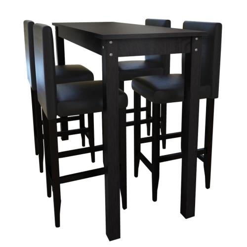 Barset mesa de bar con 4 taburetes de bar mesa de comedor Negro