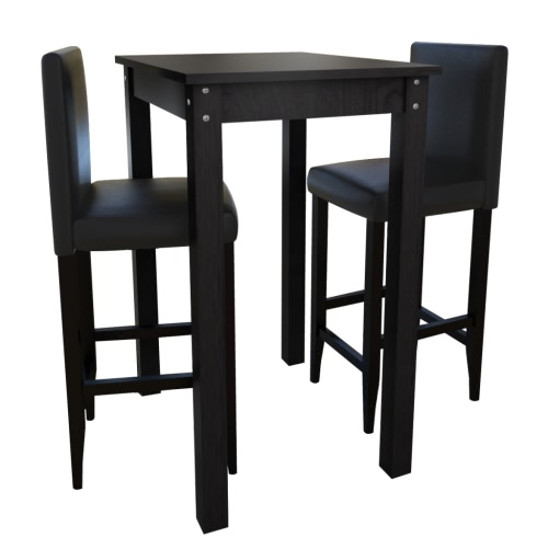 Table Set with 2 Bar Stools Blacks