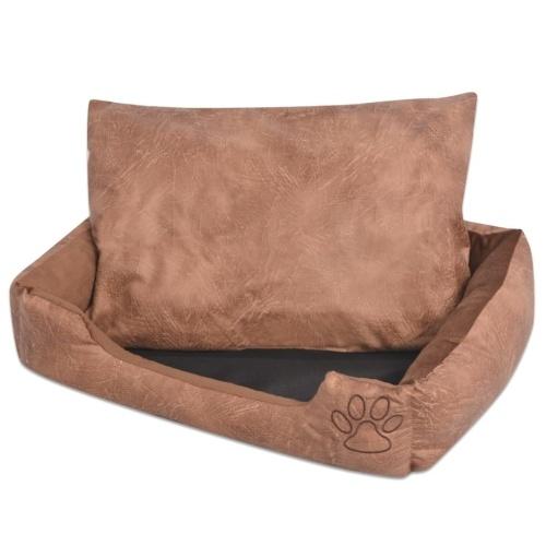 Cama de cachorro com almofada PU de couro artificial tamanho L Beige