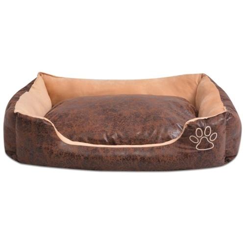 犬用ベッドクッション付きPUレザーサイズSブラウン