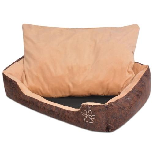 Собака кровать с подушкой PU искусственной кожи размер XL Браун