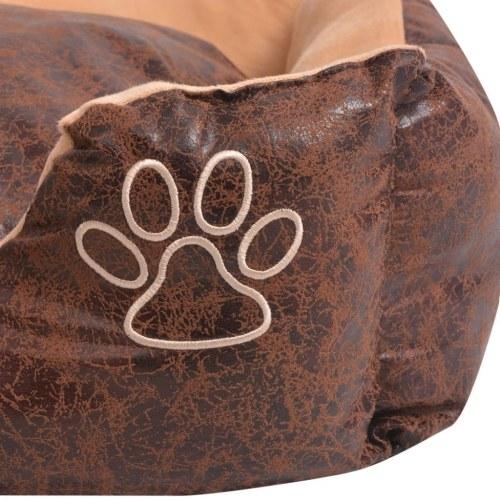 Собака кровать с подушкой PU искусственной кожи размер XXL Браун