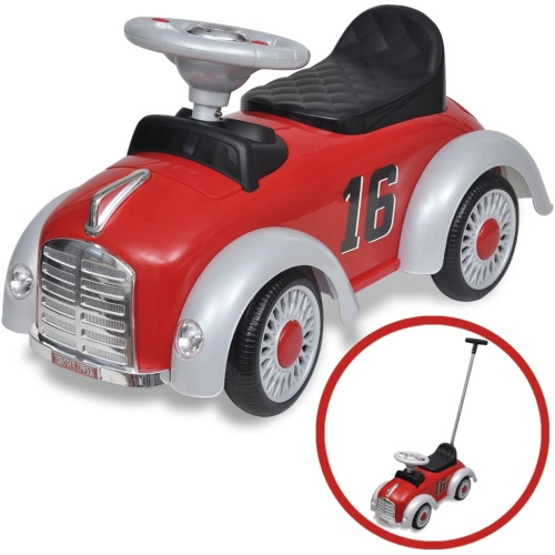 Red Retro Children's Ride-on Car with Push bar