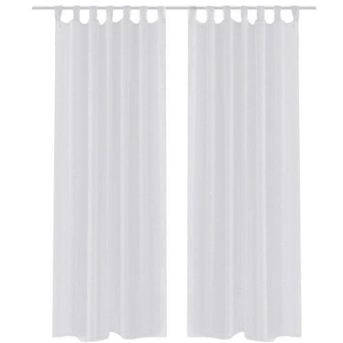 White Sheer Curtain 140 x 175 cm 2 pcs