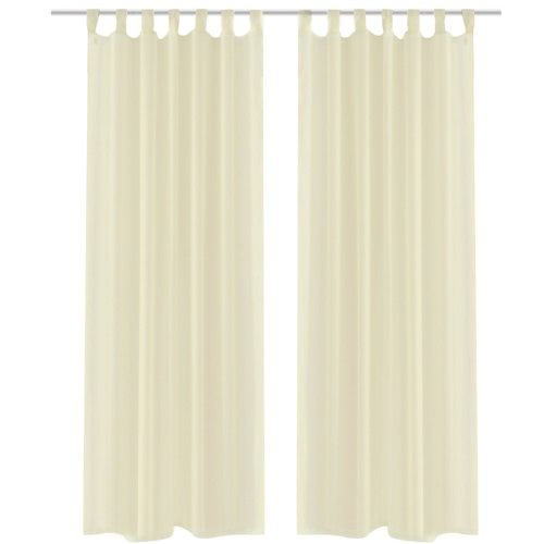 Cream Sheer Curtain 140 x 245 cm 2 pcs
