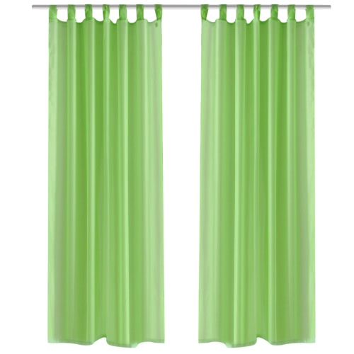 Apple Green Sheer Curtain 140 x 225 cm 2 pcs