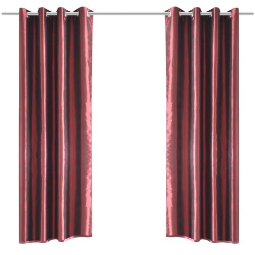 Bordeaux Taffeta Curtain with Metal Rings 140 x 245 cm 2 pcs