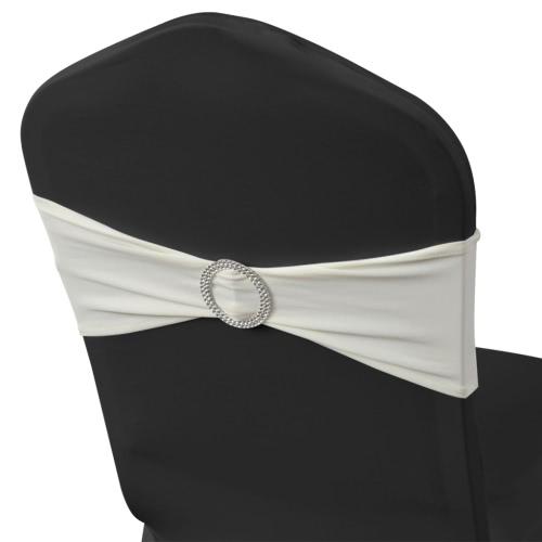 25 Stück Creme dehnbare Dekorative Stuhl-Band mit Diamant-Schnalle