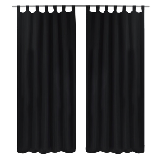 2 pcs Black Micro-Satin Curtains with Loops 140 x 225 cm