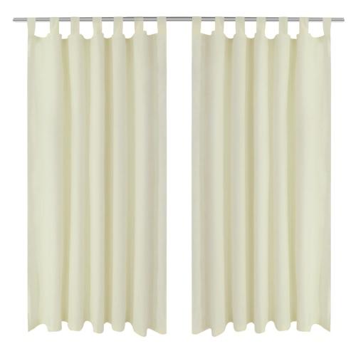 2 Stück Creme Micro-Satin Vorhänge mit Loops 140 x 175 cm