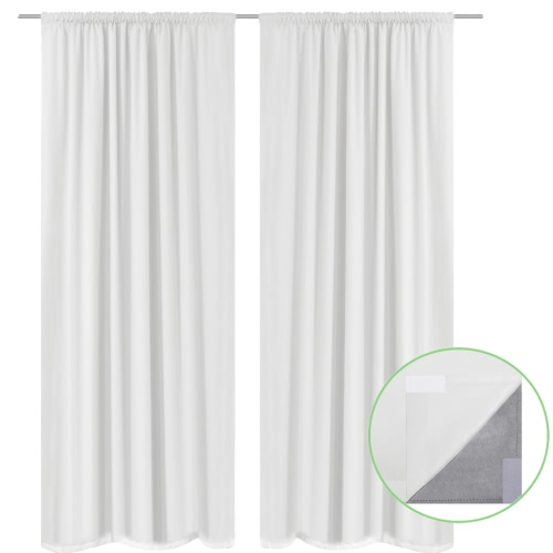 2 szt Biały Energooszczędny Zasłony Double Layer 140 x 245 cm