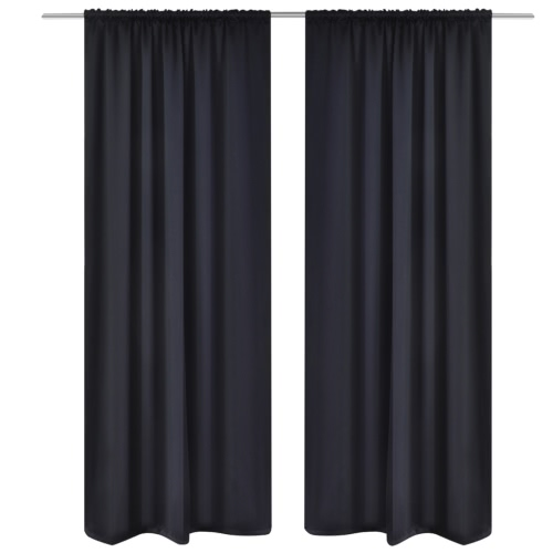 2 PC Negro Ranura-Headed Telas aislantes 135 x 245 cm