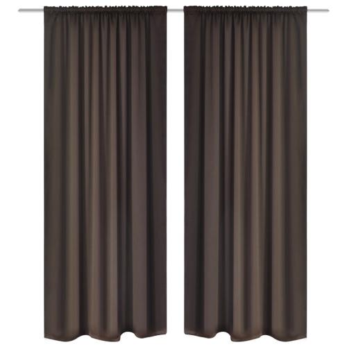 2 pcs Brown Slot-Headed Blackout Curtains 135 x 245 cm