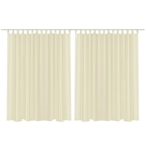 2 pcs Sheer Curtain 290 x 175 cm Cream