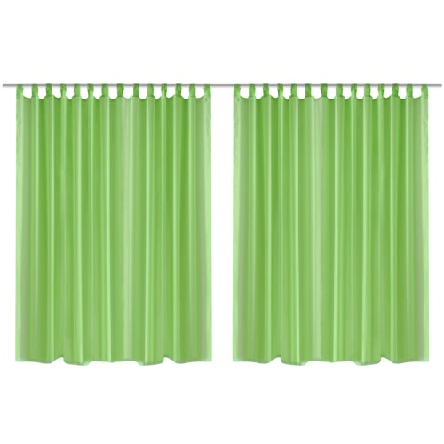 2 pcs Sheer Curtain 290 x 245 cm Green