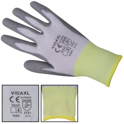 work gloves pu 24 pairs white and grey size 10/xl