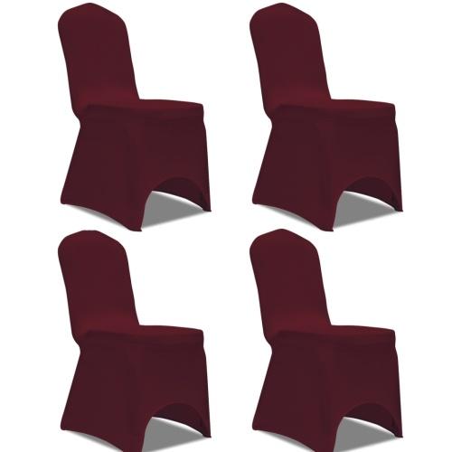 estiramento Cadeira Coberta 4 pcs Bordeaux