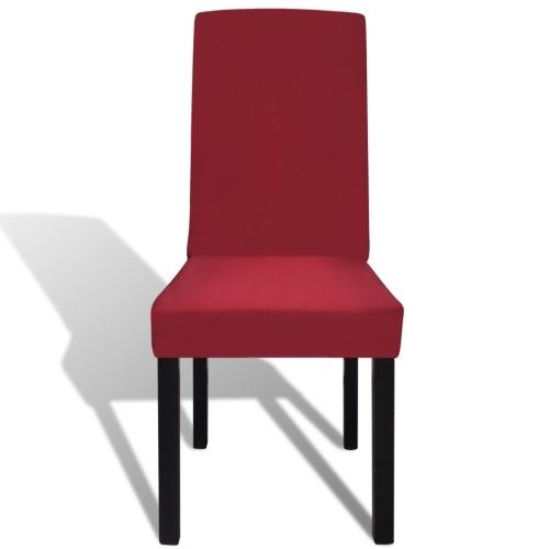 dritto elastico copertura della sedia 4 pezzi Bordeaux