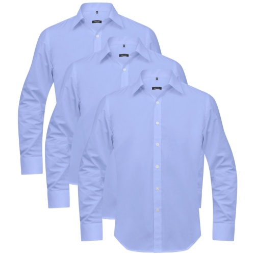Men's Business Shirts 3 pcs Size S Light Blue
