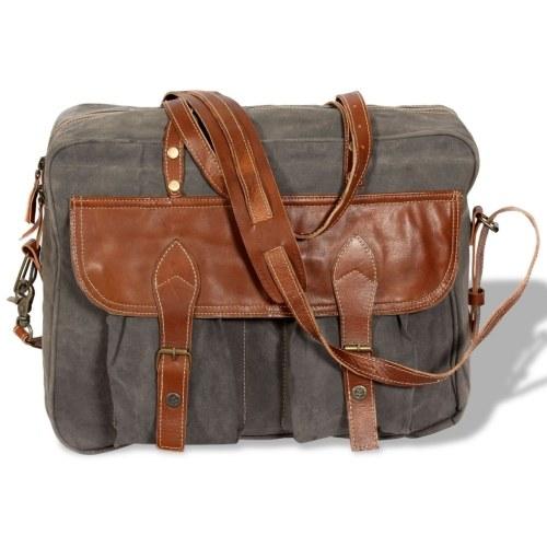 Handtasche Canvas und Echtes Leder Grau