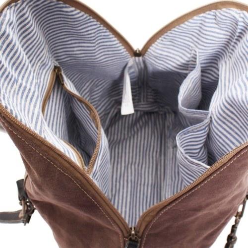 Handtasche Canvas und Echtes Leder Braun